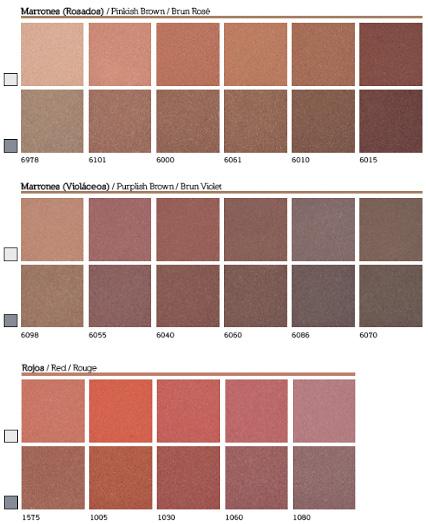 Carta de colores de pigmentos para cemento