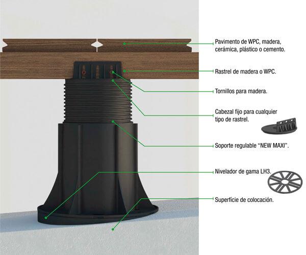 Soporte regulable para tarima flotante de cabezal fijo